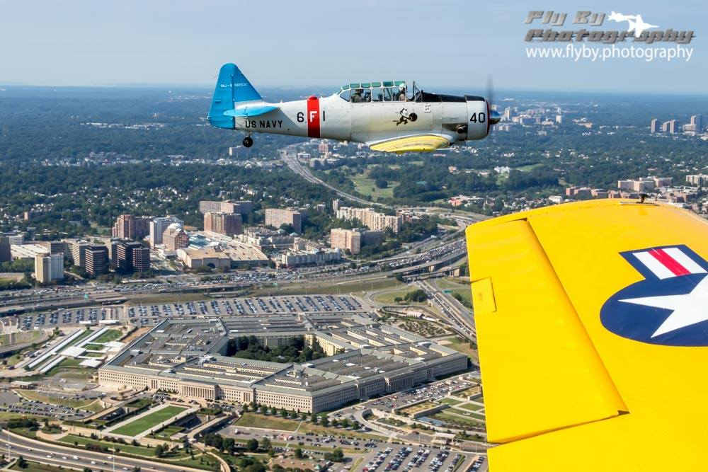 Texan Flight over Arlington National Cemetery with the Pentagon on our left, below.